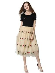 Women's Casual/Daily Street chic Chiffon / Black and White Dress,Print Round Neck