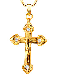 Anhänger Metall Cross Shape Gold / blanco 50