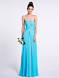 Lanting Bride® Floor-length Chiffon Bridesmaid Dress Sheath / Column Sweetheart with Beading / Ruching