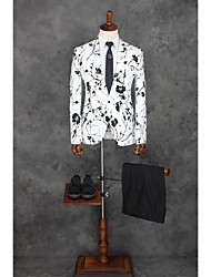Suits Tailored Fit Notch Single Breasted One-button Polyester Patterns 2 Pieces Straight Flapped Single White Single