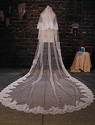 Wedding Veil Two-tier Cathedral Veils Lace Applique Edge Tulle Ivory
