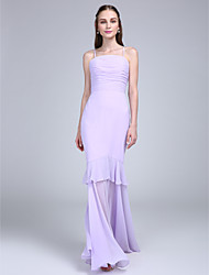 Lanting Bride Floor-length Chiffon Bridesmaid Dress Fit & Flare Spaghetti Straps with Tiers / Ruching