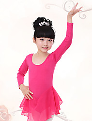 Ballet Dresses Children's Training Chiffon / Cotton Pleated 1 Piece  Long Sleeve  Kid's Dance Costumes