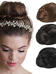 casamento bridal updo clips chignon bun tranças extensões de cabelo retas sintéticos castanhos