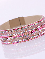 Women's New Fashion Charm Shiny Rhinestone Leather Magnetic Alloy Buckle Bangle Bracelet