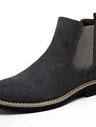 Men's Boots Suede Outdoor Low Heel Split Joint Black Blue Gray Walking
