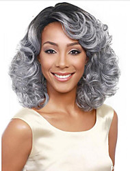 Europe And The United States With Silver Gray Gradient Ms 14 Inch Short Curly Wig