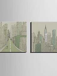 E-HOME® Stretched Canvas Art Many-Storied Buildings Decoration Painting  Set of 2