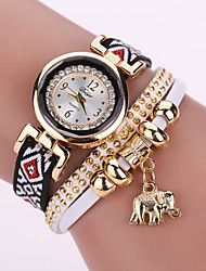 Lady's White Case Analog Quartz Elephant Pendant Leather Fabric Bracelet Watch for Party