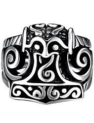 Anéis,Aço Vintage Pesta Jóias Aço Inoxidável Anéis Grossos 1pç,8 / 9 / 10 / 11 Preto