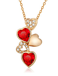 Women's Pendant Necklaces AAA Cubic Zirconia Zircon Cubic Zirconia Gold Plated Heart Fashion Red/White White/Green JewelryWedding Party