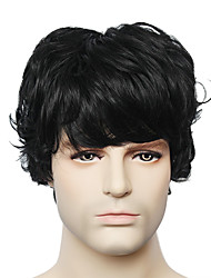Capless Black Short Straight Men's Human Hair Wig for Young Men