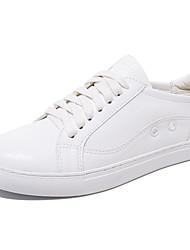 Damen-Flache Schuhe-Lässig-Leder-Flacher Absatz-Komfort-Weiß