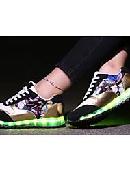 Damen-Flache Schuhe-Lässig-PU-Flacher Absatz-Komfort Light Up Schuhe-Schwarz Rot Silber