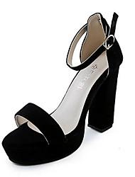 Damen Sandalen Vlies Sommer Normal Schnalle Blockabsatz Schwarz Grau 5 - 7 cm