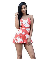 Mulheres Bainha Vestido,Casual Sensual Estampado Com Alças Mini Sem Manga Laranja Poliéster Verão