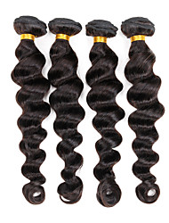 "Brazilian Hair Weave Loose Wave Natural Black 4 Bundles/Lot 8""-26"" 100% Virgin Remy Human Hair Extensions"