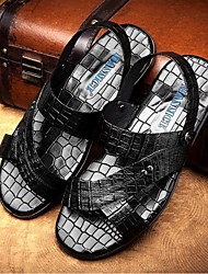 Men's Shoes Leather Outdoor / Athletic Sandals Outdoor / Athletic Sport Sandals Flat Heel Rivet Black / Burgundy