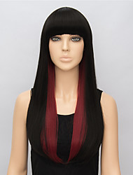 Fashion Straight Long Synthetic Wigs for Women Black Red Multi-color Cosplay Wig