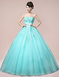 Prom Formal Evening Dress - Sparkle & Shine Ball Gown Strapless Floor-length Tulle with Crystal Detailing Embroidery Lace