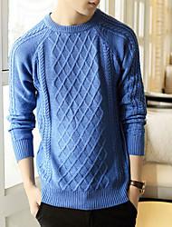 Herren Standard Pullover-Lässig/Alltäglich Arbeit Solide Langarm Baumwolle Winter