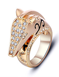 Fashion Animal Shape Horse Alloy Unisex Ring Trendy Jewelry 18k Gold Plated Rings For Party