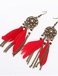 Retro Fashion Tassels Feather Earrings
