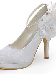 Women's Shoes Silk Stiletto Heel Heels / Round Toe Heels Wedding / Party & Evening / Dress Red / White / Beige