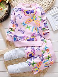 Girl's Pink Clothing Set,Print Cotton Spring
