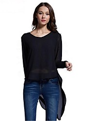 Women's Solid Black Blouse,Round Neck Long Sleeve