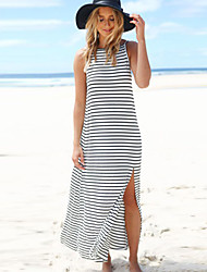Women's Sexy / Beach Striped Sweater Dress , Strap Maxi Polyester