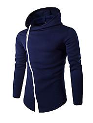 Pull à capuche & Sweatshirt Pour des hommes Couleur plaine Décontracté / Sport Coton Manches longues Noir / Bleu