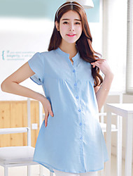 Maternity Shirt Collar Ruched Blouse,Polyester Short Sleeve