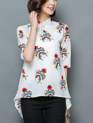 Women's Casual /Vintage Summer Chiffon Blouse,Print Stand ½ Length Sleeve Asymmetrical White /Black Silk /Polyester