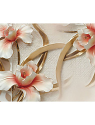 JAMMORY 3D Wallpaper Contemporary Wall Covering , Canvas Material Adhesive required Mural , Luxury Embossed Flower