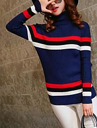 Normal Pullover Femme Décontracté / Quotidien Mignon,Rayé Bleu / Marron Col Roulé Manches Longues Coton Automne / Hiver Moyen