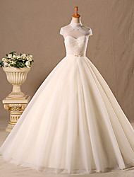 Princess Wedding Dress Floor-length Strapless Tulle with Beading