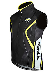 SANTIC Cycling Vest Men's Sleeveless Bike Vest/Gilet Jacket Waterproof Thermal / Warm Windproof Polyester 100% Polyester Stripe Winter