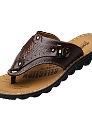 Men's Shoes Cowhide Outdoor / Casual Sandals Outdoor / Casual Walking Flat Heel Split Joint Black / Brown / Yellow