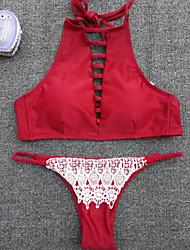 Bikinis Aux femmes Rétro Licou Nylon / Spandex