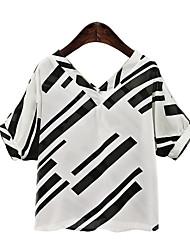 Women's Print White / Black Blouse,V Neck ½ Length Sleeve