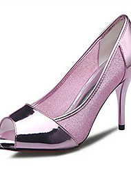 Damen High Heels PU Sommer Normal Blockabsatz Silber Rosa