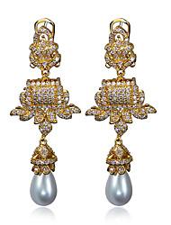 Drop Earrings Jewelry Earring Cubic Zircon Synthetic Pearl Platinum & 18K Gold Plated Coppr Vintage Women Earring
