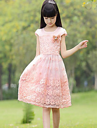Girl's Party/Cocktail Embroidered Dress,Cotton / Others Summer Pink / Purple
