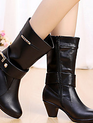 Women's Shoes Leather Fall / Winter Fashion Boots Boots Casual Chunky Heel Buckle Black / Brown