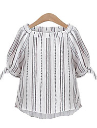 Women's Casual/Daily Street chic Summer Blouse,Embroidered Boat Neck ½ Length Sleeve White Cotton Medium