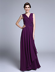 LAN TING BRIDE Sheath / Column Mother of the Bride Dress - Elegant Floor-length Sleeveless Chiffon with Criss Cross Sequins