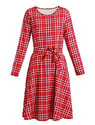 Gaine / Patineuse Robe Aux femmes Soirée / Cocktail Vintage / Mignon,Tartan Col Arrondi Mi-long Manches Longues Rouge Coton / Polyester