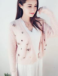 Women's Solid Pink Cardigan,Cute Long Sleeve