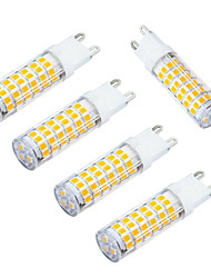 JIAWEN 5pcs/lot G9 5W LED Corn Bulb Warm White/ Cool white 480lm 75-2835 SMD (AC 220V)